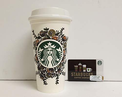 """Starbucks Mehrwegbecher mit Deckel \""""Rosemaling\"""" 2015 Ltd Edition Starbucks Partner Design Contest 473 ml Grande Kaffee Latte Tee Becher zum Sammeln und eine 2018 SB Becher Karte (Zero Balance) Bundle"""