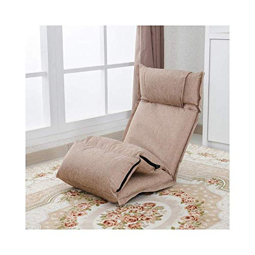 NBVCX Home Furnishing Decoration Japanese Tatami Sofa Single Fabric Cushion Bedroom Bay Window Comfortable Chair Removable and Washable Design Khaki 46×50×66cm