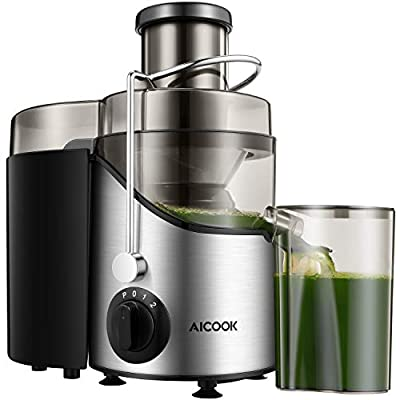 Juicer Juice Extractor, Aicook 2020 Upgrade Centrifugal Juicer 3'' Wide Mouth, 3 Speed for Soft and Hard Food Orange, Apple, Ginger, Green Vegs, Fast and Easy Clean, Non-Slip Feet, BPA-Free