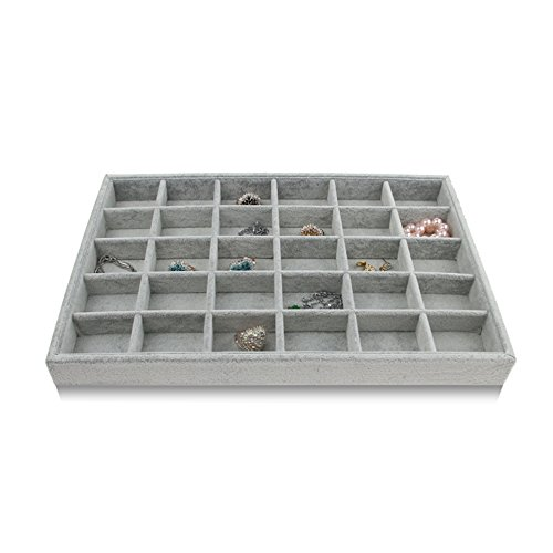 Bocar Grey Velvet 30 Compartment Jewelry Display Showcase Organizer Holder for Necklace Bracelet Ring Earring (GP-30G)