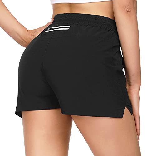 Pantaloncini Sportivi Donna pantaloncini da corsa donna Traspirante Pantaloncini da Palestra Donna Asciugatura Rapida shorts donna sportivi con striscia riflettente per Esercizio di Allenamento