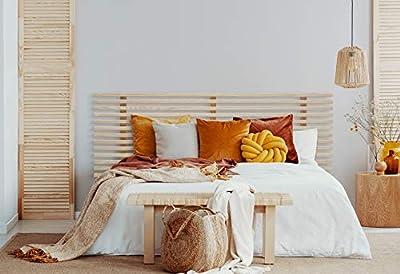 Cabeceros de cama de listones de madera de pino Cabecero de madera de gran resistencia y acabado Cabezales de madera, incluyen herrajes para anclar a la pared a la altura que desees Cabecero de camas de 100 para dormitorio juvenil Disponible en color...