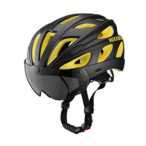 ROCKBROS Casco Ciclismo Casco Colorato per Bici MTB Circonferenza Regolabile con Lenti Magnetiche Visiera Staccabile Ultra-Leggero Unisex Certificato CE (Nero/Giallo)