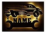 Schlummerlicht24 Led Nachtlicht Deko Lampe Oldtimer mit Name Geschenke für Auto Werkstatt Kfz...
