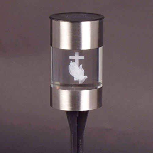 BURI LED-Solar-Grablicht Grablaterne Glaslicht Grabschmuck Solarlampe Grabdekoration