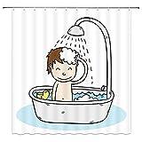 Camping Duschvorhang Nashorn Badvorhange Anti-Schimmel Und Wasserabweisend 180*180Cm Top Qualität Wasserdicht, Anti-Schimmel-Effekt 3D Digitaldruck Inkl. 12 Duschvorhangringe Für Badezimmer