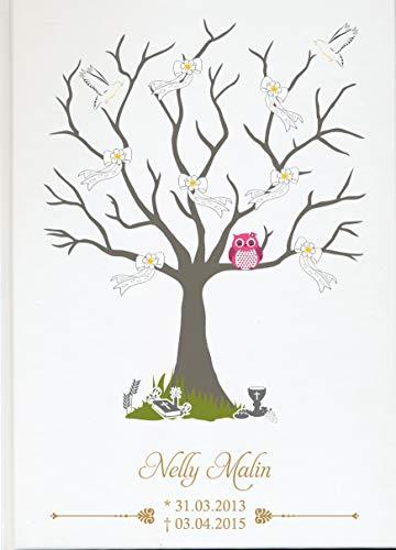 Livingstyle & wanddesign gepersonaliseerd fotoalbum boek voor sterren met boom, strikken en roze uil wit