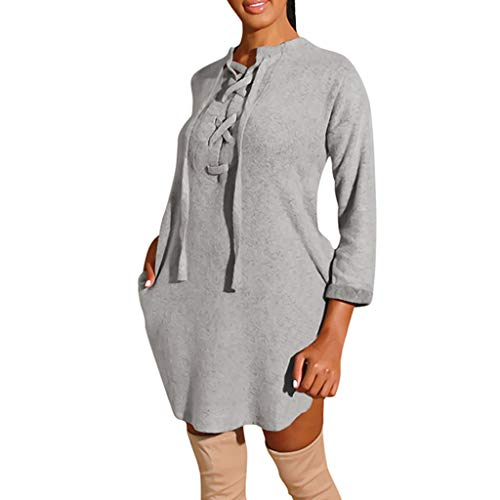 Cheap Witspace Fashion Women Solid Cross Lace Up Fleece Casual Night-Club ThickLoose Mini Dress