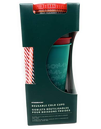 LIMITED EDITION HOLIDAY 2019 STARBUCKS Reusable Cold Cups with Lids & Straws 5 Pack 24 ounces Tumbler