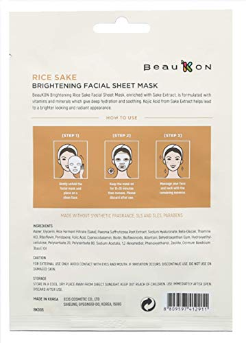 BeauKON Rice Sake Brightening Facial Sheet Mask with Kojic Acid, Korean Daily Face Mask, Hydrating and Soothing (4 Pack)