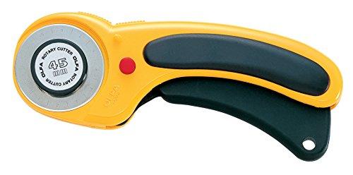 Olfa - Cúter Rotativo Con Cuchilla De 45 Mm, Botón De Bloqueo, Y Mango Ergonómico Antideslizante ref: RTY-2/DX