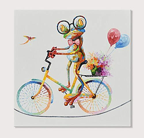 Pintura Al Óleo Pintada A Mano Sobre Lienzo,Animales Abstractos Dibujados A Mano,Colorida Rana Motorista Cartoon Minimalista,Decoracion,Muro Arte Imagen Pinturas Decorativas Para El Salón Dormitor
