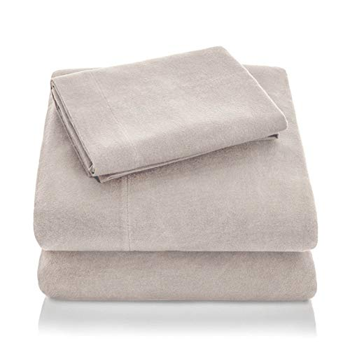 MALOUF Heavyweight Portuguese Flannel Sheet Set-100% Cotton Pill Resistant Bedding-Queen-Oatmeal, Queen