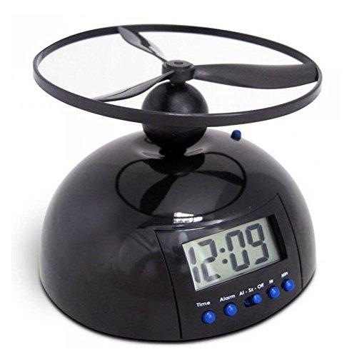 TJ Reloj de Alarma Propeller Interior Lazy Nemesis Reloj Digital ABS Creativo, Black, 12CM