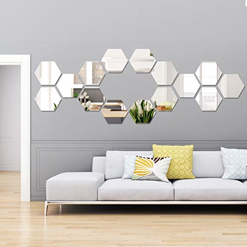 Shappy 15 Pieces Removable Acrylic Mirror Setting Wall Sticker Decal for Home Living Room Bedroom Decor (Hexagon, 15 Pieces)