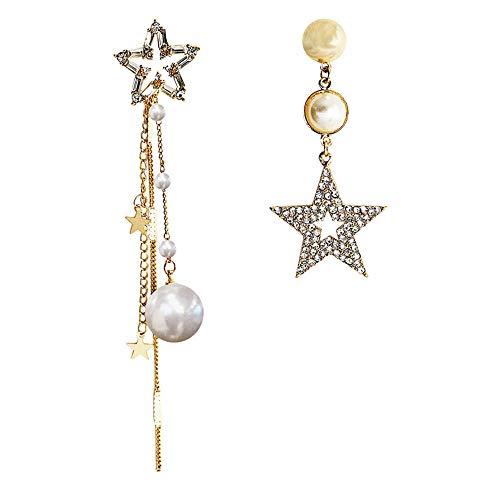 Pendientes de aro de plata de ley 925 para mujer, pendientes de estrella asimétricos, hipoalergénicos, para mujer, elegante, joyería de boda