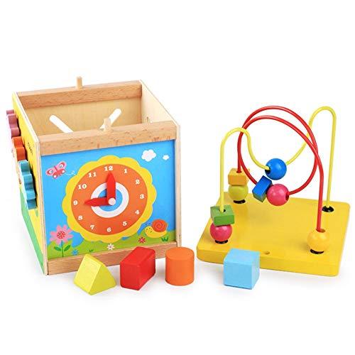 Actividad de juguetes de cubo Rompecabezas De Madera Actividad Cubo Multiuso Jugar En El Centro For Niños Pequeños For Niños Forma Clasificador De Color De Los Granos Maze Tiempo De Aprendizaje Que Ju