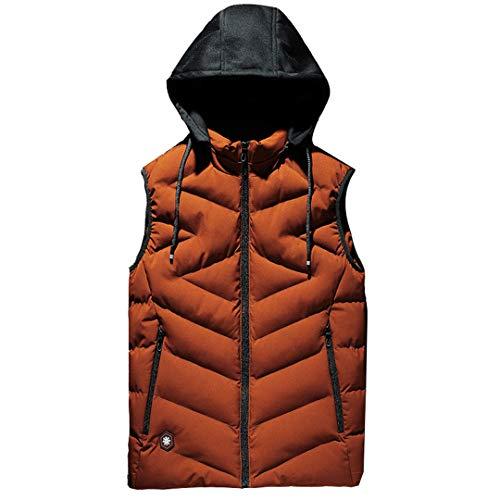 Hommes Grand Casual Veste sans Manches d'hiver à Capuchon épais Chaud Parka Waistcoat Orange L