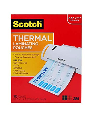 Scotch Thermal Laminating Pouches, 8.9 x 11.4 -Inches, 3 mil Thick,...