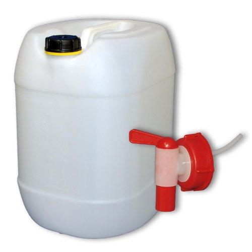 30 Liter Getränke- Wasserkanister Natur mit Schraubdeckel und Ausgießhahn (DIN 61) | Lebensmittelecht | Tragbar und Robust | Indoor und Outdoor | BPA Frei | Made in DE