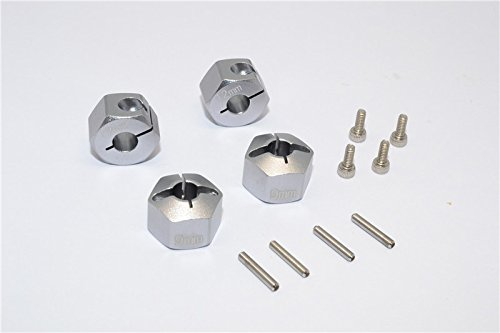 GPM HPI Bullet 3.0 Nitro & Bullet Flux Upgrade Pièces Aluminium Hex Adapter 12mm Diameter with 9mm Thickness for Optional EXO Wheels EX0503FR & EX1003FR - 4Pcs Set Grey Silver