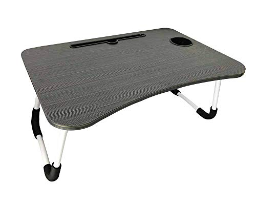 Laptop Lap Desk,Portable Bed Tray Table, Student Dormitory Table,Reading Holder with Foldable Legs & Cup Slot,Dinner Coffee Breakfast Tray Table (Black)