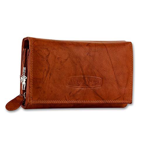 Money Maker Damen Leder Geldbörse Damen Portemonnaie Damen Geldbeutel - Lang Orange Leder