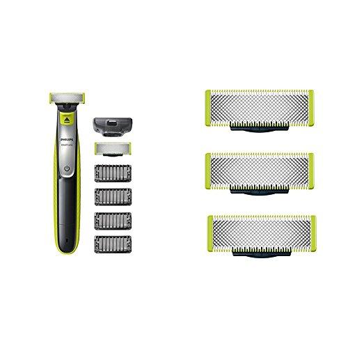 Philips OneBlade, Trimmen, Stylen, Rasieren / 4 Trimmeraufsätze, 1 Ersatzklinge QP2530/30, mit Klingen-3er Pack Bundle