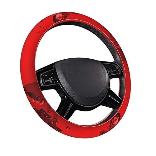 Impresión 3D 1 Cubierta de volante de cuero de 15 pulgadas Vino tinto Coche personalizado SUV Cubiertas de volante universales