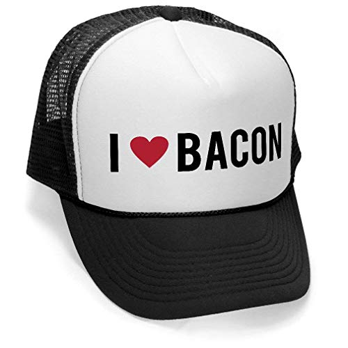I HEART BACON - pork lover bbq barbecue meat party Mesh Trucker Cap Hat, Black