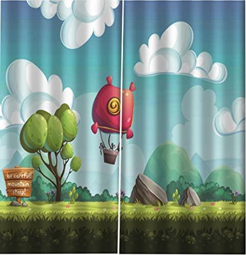 Cortina Opaca Tree Hot Air Balloon Salon Habitacion Opacas Aislantes Termicas Fruncidas con Anti-Ruido Monocromática Moderno para Salón Habitación Dormitorio 110 x 215 cm