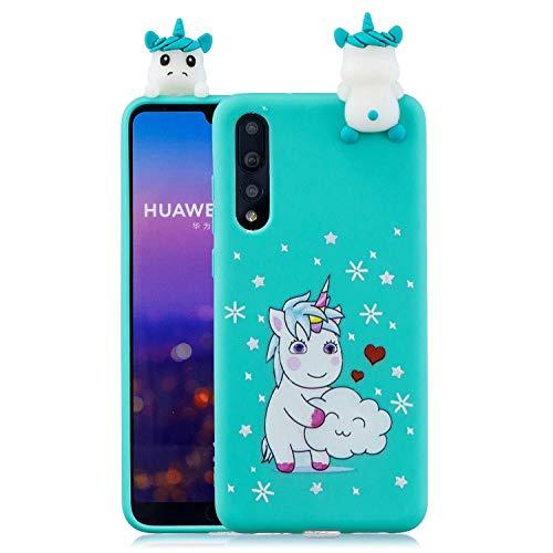 Wubao Lindo Unicornio Mate Funda de Silicona para Huawei P20 Pro / Huawei P20 Plus, Patrón de Animales de Dibujos Animados 3D Soft Piel de Gel Goma Protectora de TPU a Prueba de Golpes