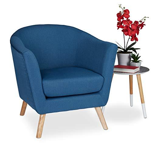 Relaxdays Cocktailsessel Retro, skandinavisches Design, Stoffbezug, bequem, Clubsessel, HBT: 80 x 77 x 72 cm, dunkelblau