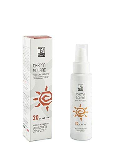 TEA NATURA - Crème Solaire SPF 20 - Aux filtres minéraux purs - Protège des rayons UVA et UVB - Également pour les peaux sensibles - 100% vegan - 100 ml