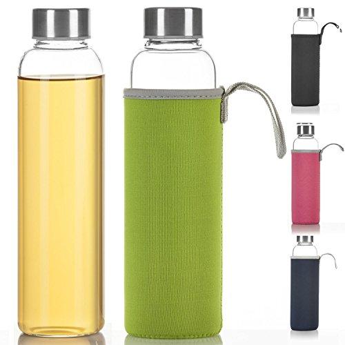 Dimono Classic Trinkflasche aus Glas 600ml - Sport Glasflasche Wasser-Flasche; bruchsicher mit isolierender Nylon Thermo-Hülle - Grün