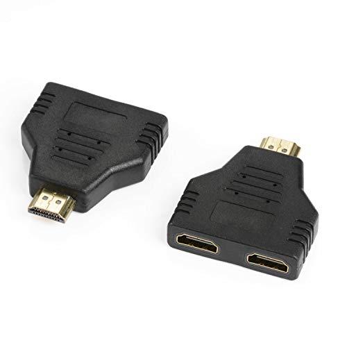 J&D Pack de 2 HDMI a 2X HDMI Adaptador, Chapado en Oro 1 a