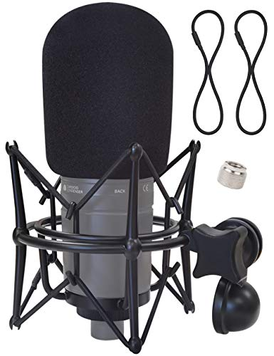 Boseen Shock Mount with Foam Windscreen - Anti Vibration Mic Holder Spider Shockmount Holder with Mic Cover Pop Filter Compatible with AT2020 AT2020USB+ AT2020USBi Recording Condenser Microphones