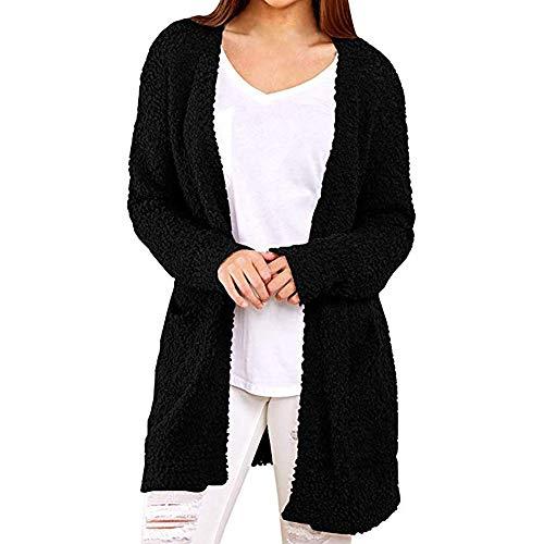 CixNy Strickjacke Damen Lässige Sweatshirt Mitteldicke Solide Winter Warme Wolltaschen Langarm Mantel Outerwear Cardigan (Schwarz, S)