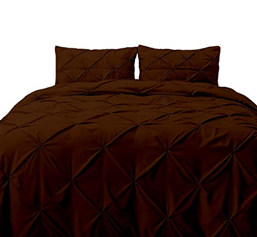 JBD LINEN 100% Egyptian Cotton, Attractive Pintuck Pinch Pleat Design 1200 TC 3 Piece Duvet Cover with Zipper Closure and Corner Ties, Oversized Super King 98' X 120' Brown Solid