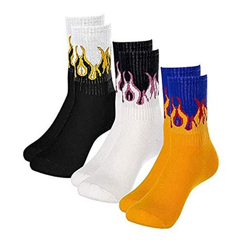 Richaa, 3 paia di calzini da uomo a forma di fiamma, unisex, stile hip hop, calze in cotone caldo elastico da donna (3 colori)