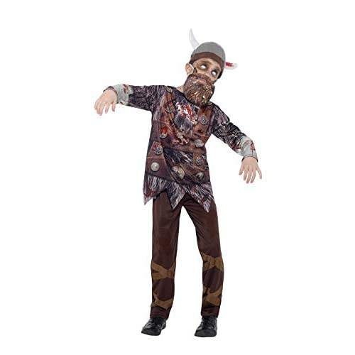 Smiffy's 45621L - Deluxe Zombie Vichingo Costume Top Pantaloni Barba Cappello & Sublimazione Stampa, Marrone, L