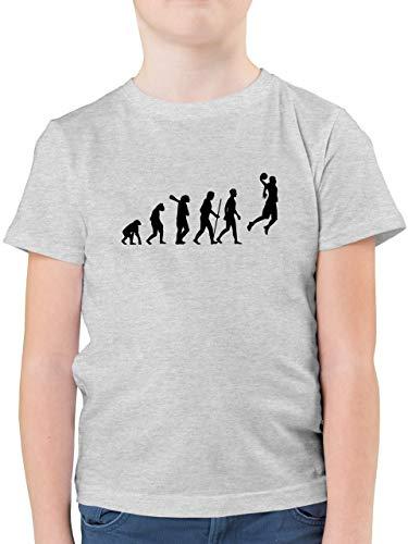 Evolution Kind - Basketball Evolution - 104 (3/4 Jahre) - Grau meliert - Basketball Shirt Jungen grün - F130K - Kinder Tshirts und T-Shirt für Jungen
