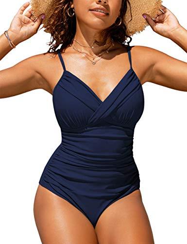 Hilor Women's One Piece Swimsuits Front Twist Swimwear V Neck Shirred Bathing Suit Monokini Navy 8