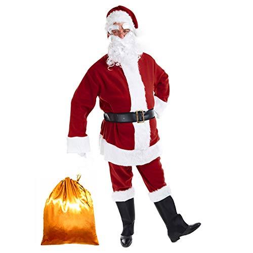 Tvakkera Santa Suit Costume Mr. Claus Plus 9PC Pants Belt Beard Bag Christmas Red
