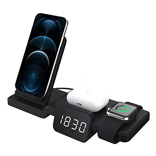 GUOYULIN 3 En 1 Estación De Carga Inalámbrica, Wireless Charger 15W con Certificación CE para I-Phone, Apple Watch, Airpods Y Todos Los Teléfonos Qi