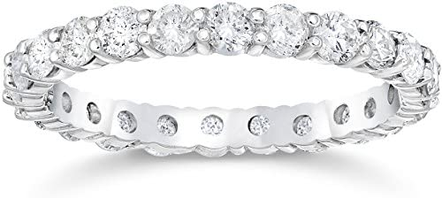 1 1 2 Ct Diamond Eternity Wedding Ring 14k White Gold Size 9 product image