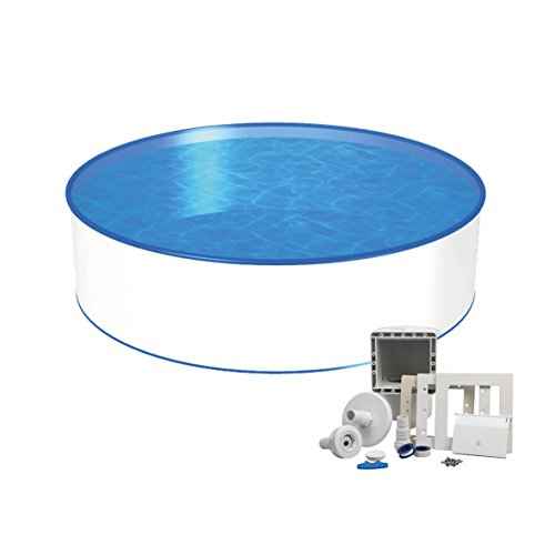 Pool Basic Rundform Ø 3,00m x 1,20m, 0,6mm Folie mit Keilbiese, 0,6mm Stahlmantel mit Skimmer-Set