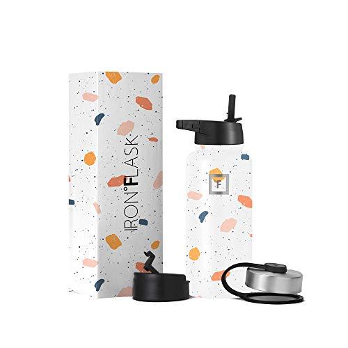 Iron Flask Botella de agua deportiva – 32 onzas, 3 tapas (tapa de paja), acero inoxidable aislado al vacío, moderna doble pared, taza térmica simple, jarra hidráulica