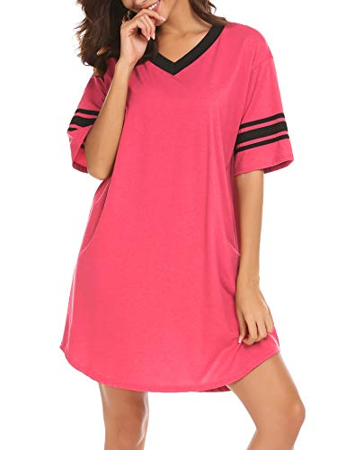 Ekouaer Women's Nightgown, Cotton Sleep Shirt V Neck Short Sleeve Loose Comfy Pajama Sleepwear S-XXL