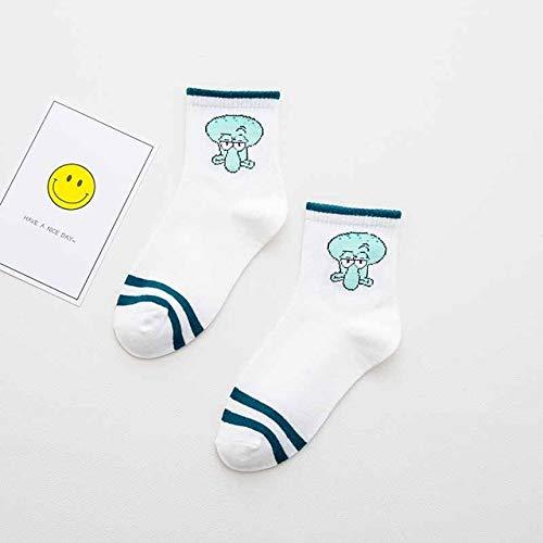 Calcetines de algodón de Dibujos Animados Elegantes Lindos Mujer Calcetines Cortos Casuales de carácter Animal 2 Pares-a10-One Size